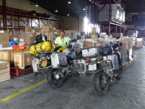 Saying goodbye to the bikes in the cargo dock.