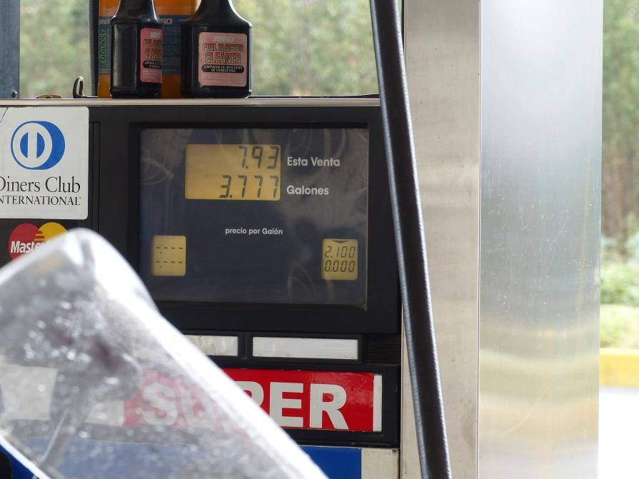 Price of gas in Ecuador.