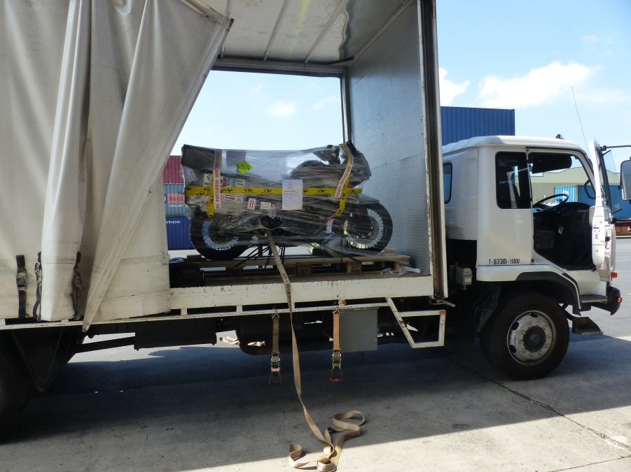Bike arriving at Quarantine.