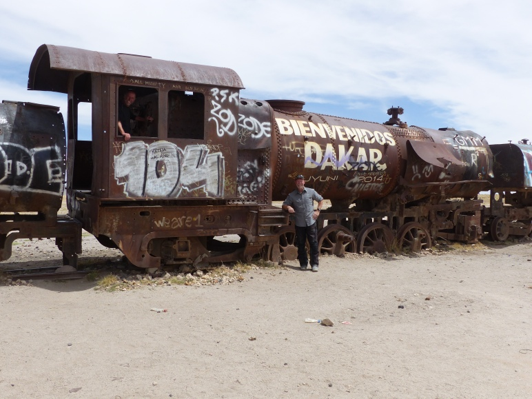 A locomotive is a sorry state, proclaming the upcoming Dakar Race.