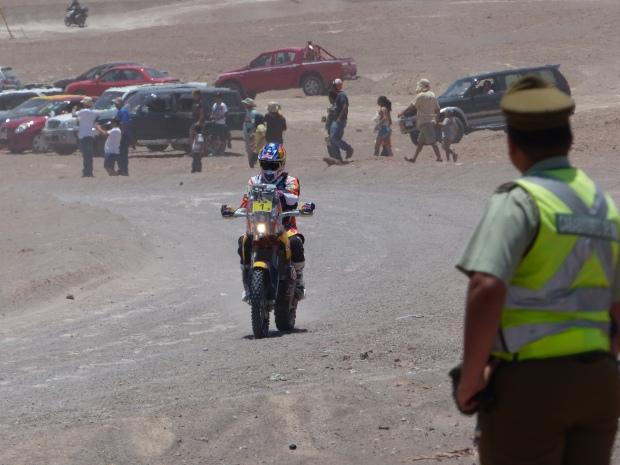 Marc Coma, four times Dakar Champion eventual 2015 winner arrives on his KTM