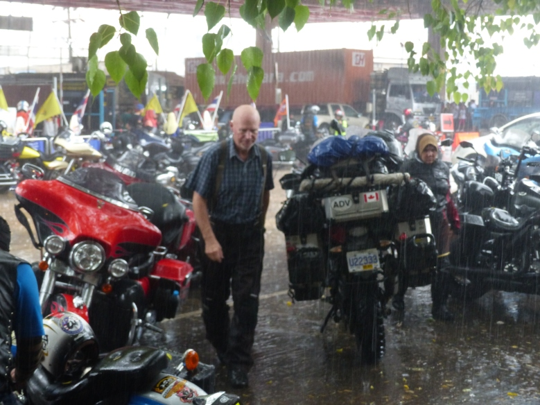 Getting soaked at the Thai border.